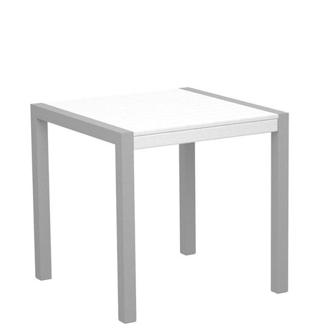 "Polywood 8000-11WH MOD 30"" Dining Table in Textured Silver Aluminum Frame / White - PolyFurnitureStore"