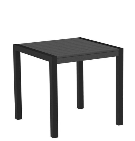 "Polywood 8000-12GY MOD 30"" Dining Table in Textured Black Aluminum Frame / Slate Grey - PolyFurnitureStore"