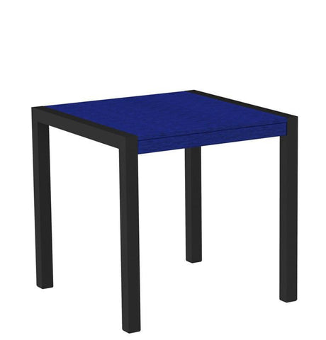"Polywood 8000-12PB MOD 30"" Dining Table in Textured Black Aluminum Frame / Pacific Blue - PolyFurnitureStore"