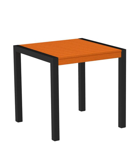 "Polywood 8000-12TA MOD 30"" Dining Table in Textured Black Aluminum Frame / Tangerine - PolyFurnitureStore"