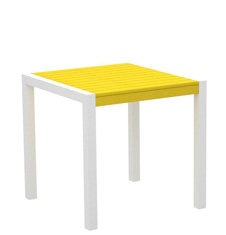 "Polywood 8000-13LE MOD 30"" Dining Table in Textured White Aluminum Frame / Lemon - PolyFurnitureStore"