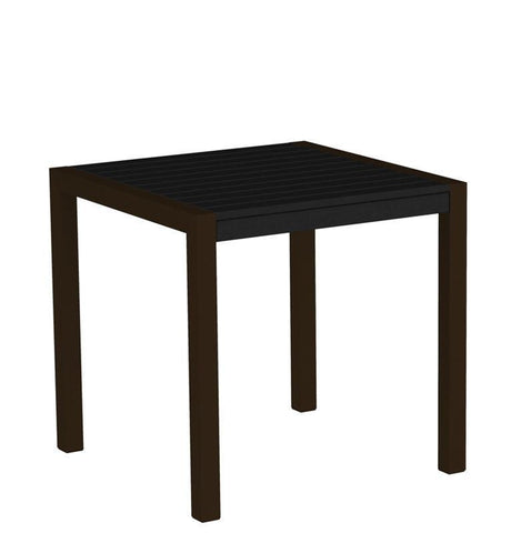 "Polywood 8000-16BL MOD 30"" Dining Table in Textured Bronze Aluminum Frame / Black - PolyFurnitureStore"
