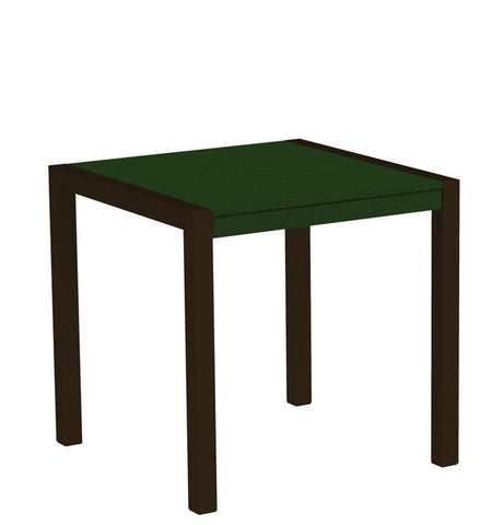 "Polywood 8000-16GR MOD 30"" Dining Table in Textured Bronze Aluminum Frame / Green - PolyFurnitureStore"