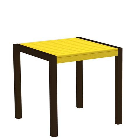 "Polywood 8000-16LE MOD 30"" Dining Table in Textured Bronze Aluminum Frame / Lemon - PolyFurnitureStore"