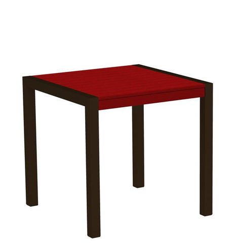 "Polywood 8000-16SR MOD 30"" Dining Table in Textured Bronze Aluminum Frame / Sunset Red - PolyFurnitureStore"