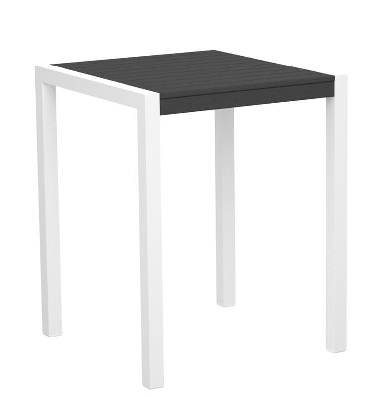 Mod Counter Table Gloss White Aluminum Frame Slate Grey 4435 Product Photo