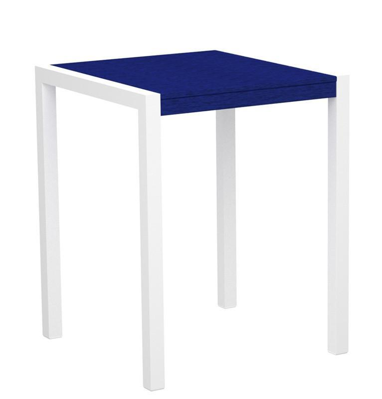 Mod Counter Table Gloss White Aluminum Frame Pacific Blue 4431 Product Photo