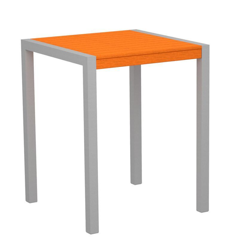 Counter Table Textured Silver Aluminum Frame Tangerine Mod 3753 Product Photo