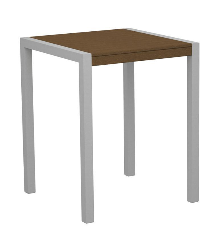 Counter Table Textured Silver Aluminum Frame Teak Mod 3753 Product Photo