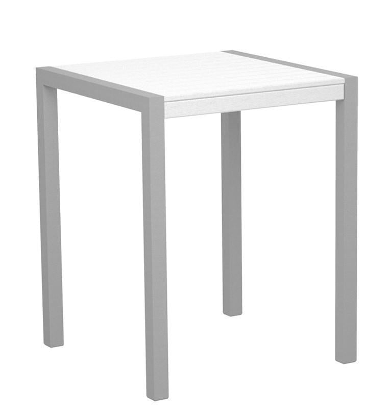 Counter Table Textured Silver Aluminum Frame White Mod 3753 Product Photo