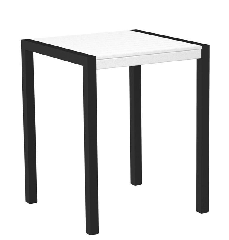 Mod Counter Table Textured Black Aluminum Frame White 4453 Product Photo