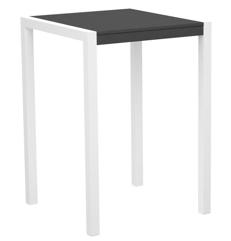 Mod Bar Table Gloss White Aluminum Frame Slate Grey 4197 Product Photo