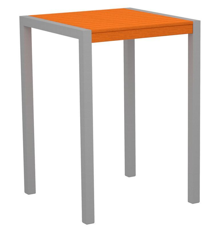 Bar Table Textured Silver Aluminum Frame Tangerine Mod - Polywood Table Image
