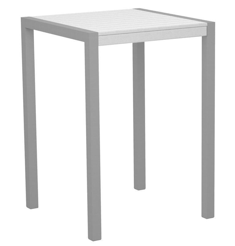 Mod Bar Table Textured Silver Aluminum Frame White 4239 Product Photo