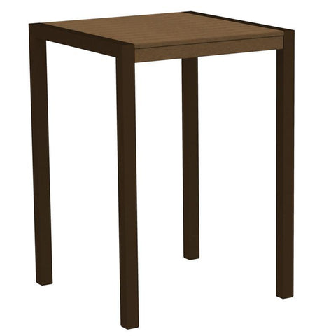 "Polywood 8002-16TE MOD 30"" Bar Table in Textured Bronze Aluminum Frame / Teak - PolyFurnitureStore"
