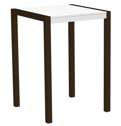 "Polywood 8002-16WH MOD 30"" Bar Table in Textured Bronze Aluminum Frame / White - PolyFurnitureStore"