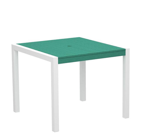 "Polywood 8100-10AR MOD 36"" Dining Table in Gloss White Aluminum Frame / Aruba - PolyFurnitureStore"