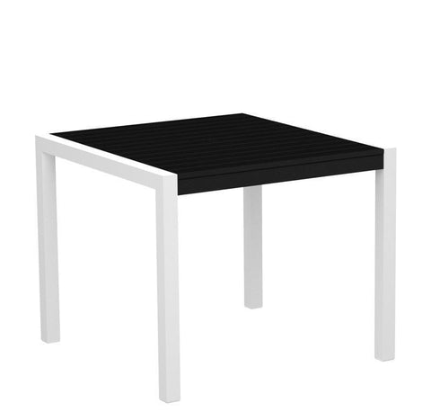 "Polywood 8100-10BL MOD 36"" Dining Table in Gloss White Aluminum Frame / Black - PolyFurnitureStore"