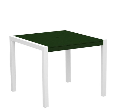 "Polywood 8100-10GR MOD 36"" Dining Table in Gloss White Aluminum Frame / Green - PolyFurnitureStore"