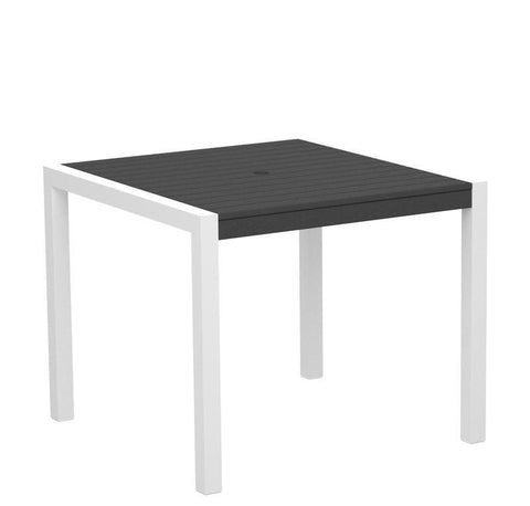 "Polywood 8100-10GY MOD 36"" Dining Table in Gloss White Aluminum Frame / Slate Grey - PolyFurnitureStore"