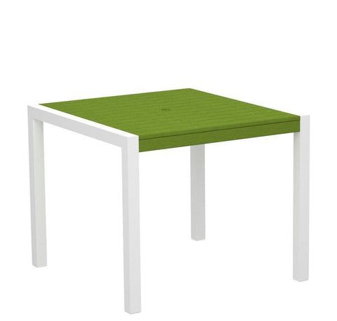 "Polywood 8100-10LI MOD 36"" Dining Table in Gloss White Aluminum Frame / Lime - PolyFurnitureStore"
