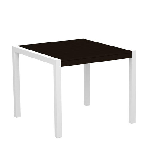 "Polywood 8100-10MA MOD 36"" Dining Table in Gloss White Aluminum Frame / Mahogany - PolyFurnitureStore"