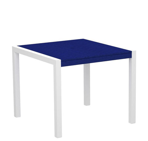 "Polywood 8100-10PB MOD 36"" Dining Table in Gloss White Aluminum Frame / Pacific Blue - PolyFurnitureStore"