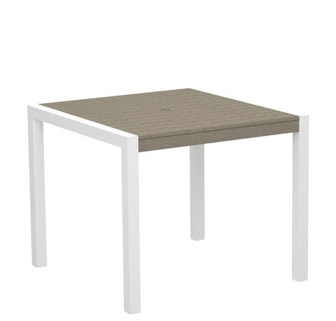 "Polywood 8100-10SA MOD 36"" Dining Table in Gloss White Aluminum Frame / Sand - PolyFurnitureStore"