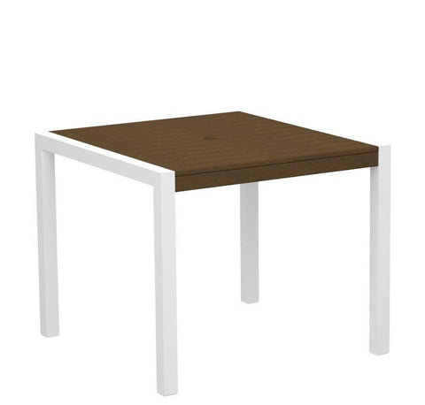 "Polywood 8100-10TE MOD 36"" Dining Table in Gloss White Aluminum Frame / Teak - PolyFurnitureStore"