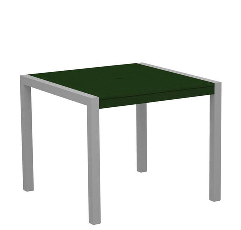 "Polywood 8100-11GR MOD 36"" Dining Table in Textured Silver Aluminum Frame / Green - PolyFurnitureStore"