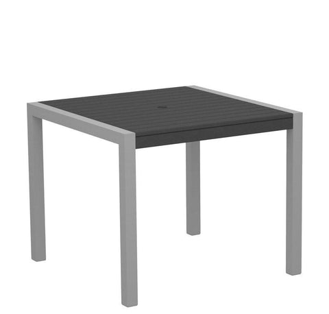 "Polywood 8100-11GY MOD 36"" Dining Table in Textured Silver Aluminum Frame / Slate Grey - PolyFurnitureStore"
