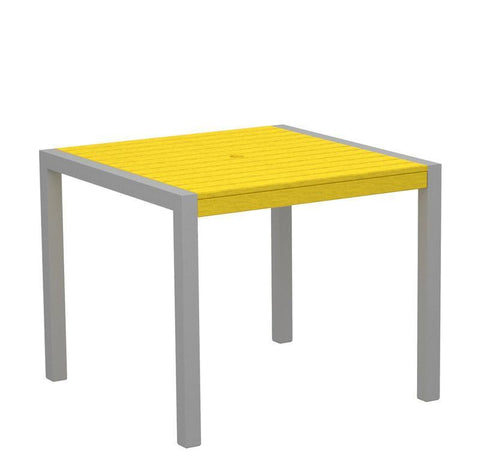 "Polywood 8100-11LE MOD 36"" Dining Table in Textured Silver Aluminum Frame / Lemon - PolyFurnitureStore"