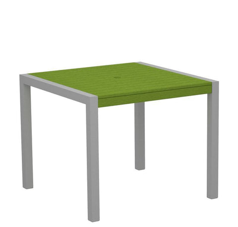 "Polywood 8100-11LI MOD 36"" Dining Table in Textured Silver Aluminum Frame / Lime - PolyFurnitureStore"