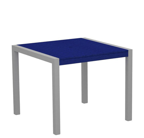 "Polywood 8100-11PB MOD 36"" Dining Table in Textured Silver Aluminum Frame / Pacific Blue - PolyFurnitureStore"