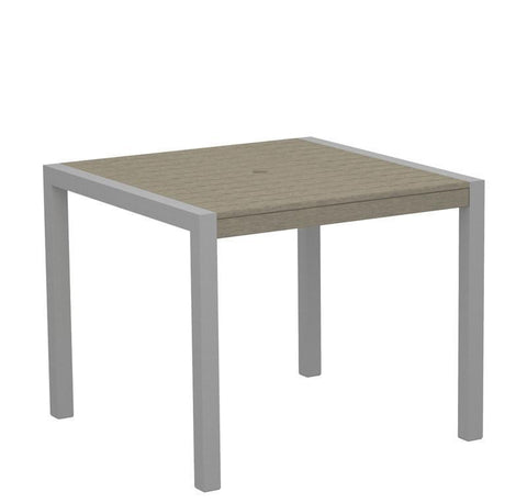 "Polywood 8100-11SA MOD 36"" Dining Table in Textured Silver Aluminum Frame / Sand - PolyFurnitureStore"