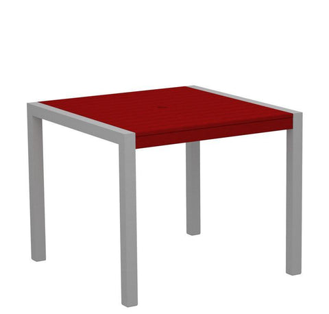 "Polywood 8100-11SR MOD 36"" Dining Table in Textured Silver Aluminum Frame / Sunset Red - PolyFurnitureStore"