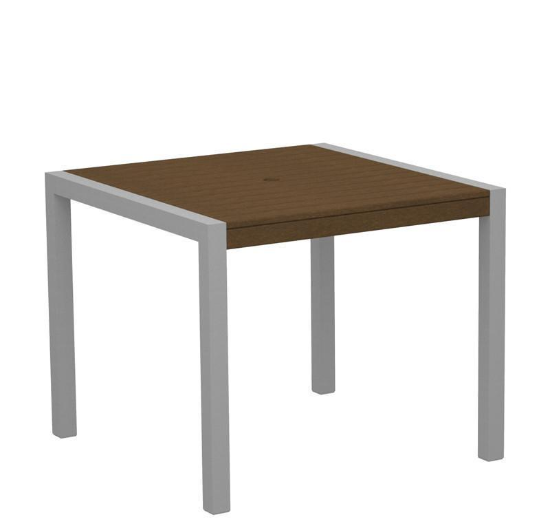 Dining Table Textured Silver Aluminum Frame Teak Mod 3459 Product Photo
