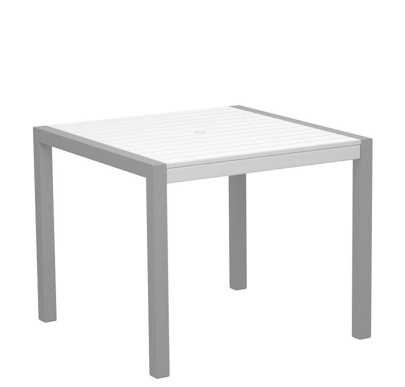 Dining Table Textured Silver Aluminum Frame White Mod 3459 Product Photo
