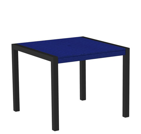 "Polywood 8100-12PB MOD 36"" Dining Table in Textured Black Aluminum Frame / Pacific Blue - PolyFurnitureStore"