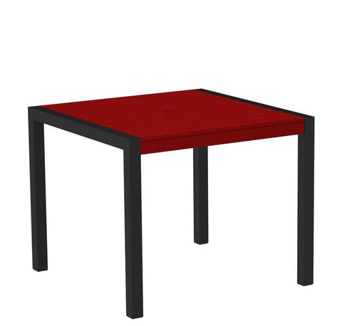 "Polywood 8100-12SR MOD 36"" Dining Table in Textured Black Aluminum Frame / Sunset Red - PolyFurnitureStore"