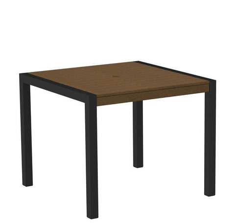 "Polywood 8100-12WH MOD 36"" Dining Table in Textured Black Aluminum Frame / White - PolyFurnitureStore"