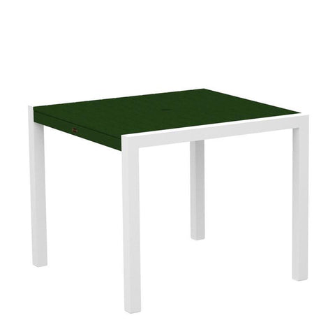 "Polywood 8100-13GR MOD 36"" Dining Table in Textured White Aluminum Frame / Green - PolyFurnitureStore"