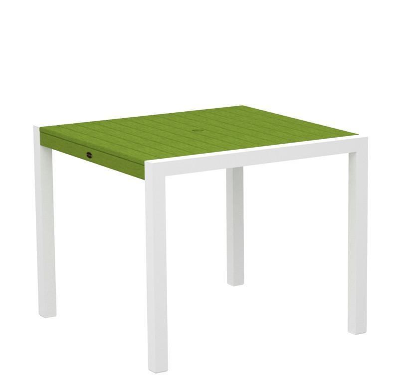 Mod Dining Table Textured White Aluminum Frame Lime 4178 Product Photo