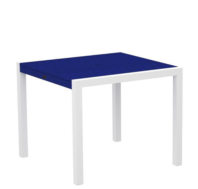 Mod Dining Table Textured White Aluminum Frame Pacific Blue 4178 Product Photo