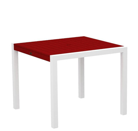 "Polywood 8100-13SR MOD 36"" Dining Table in Textured White Aluminum Frame / Sunset Red - PolyFurnitureStore"
