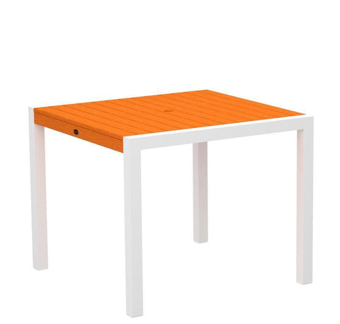 "Polywood 8100-13TA MOD 36"" Dining Table in Textured White Aluminum Frame / Tangerine - PolyFurnitureStore"