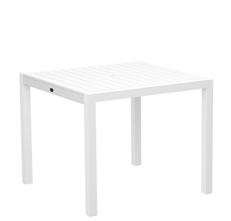 Dining Table Textured White Aluminum Frame White Mod 3472 Product Photo
