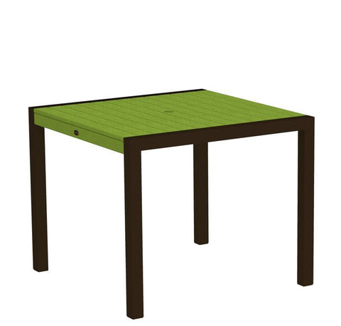 "Polywood 8100-16LI MOD 36"" Dining Table in Textured Bronze Aluminum Frame / Lime - PolyFurnitureStore"