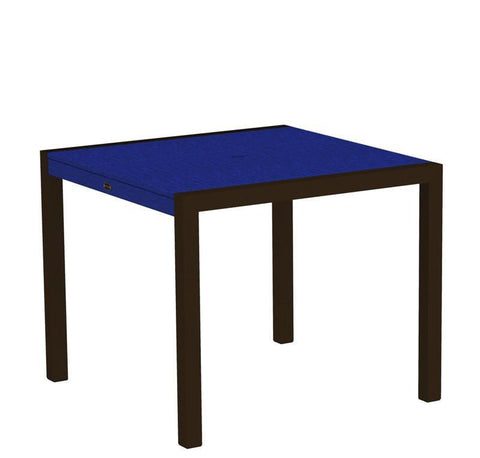 "Polywood 8100-16PB MOD 36"" Dining Table in Textured Bronze Aluminum Frame / Pacific Blue - PolyFurnitureStore"