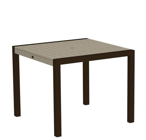 "Polywood 8100-16SA MOD 36"" Dining Table in Textured Bronze Aluminum Frame / Sand - PolyFurnitureStore"